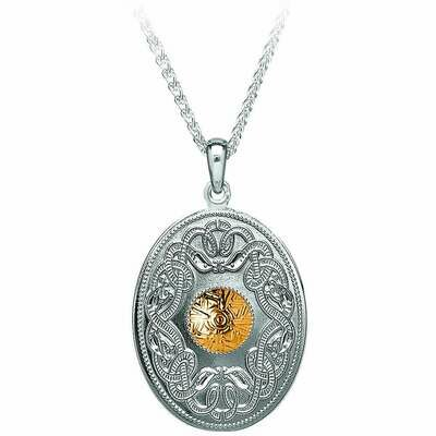 Sterling Silver Celtic Warrior® Shield Pendant with Gold Bead- Oval & 18