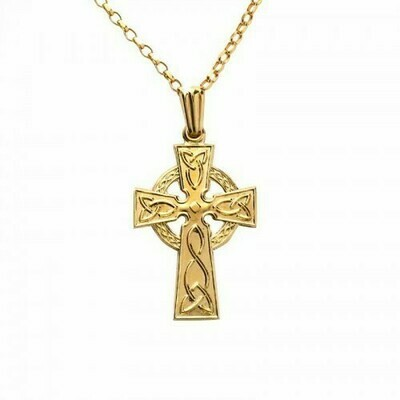 10kt Yellow Gold Medium Double Sided Celtic Cross Pendant