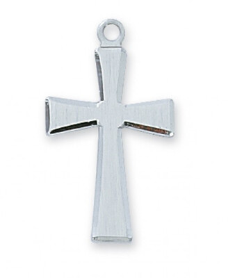 Sterling Silver Brushed Cross on an 18