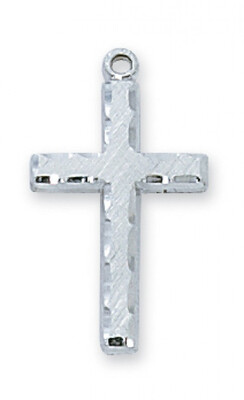 Sterling Silver Edged Cross on an 18