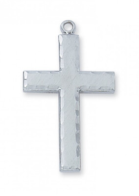 Sterling Silver Large Edged Cross on a 24