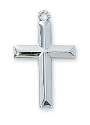 Sterling Silver Curved Cross on an 18