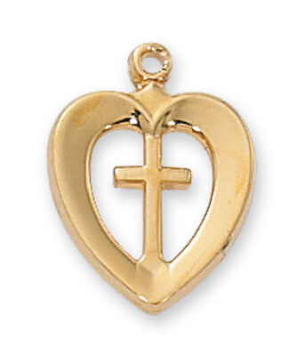 Gold Plated Cross in a Heart on an 18