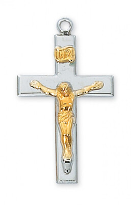 Sterling Silver Two-Tone Crucifix on an 18
