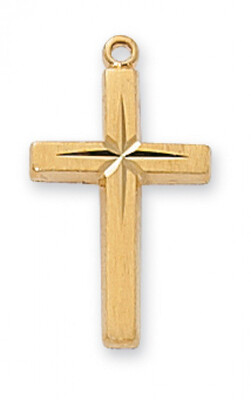 Gold Plated Etched Cross on an 18