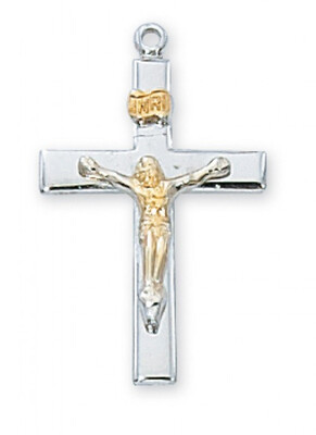 Sterling Silver Two-Tone Gold Plated Crucifix on an 18