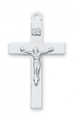 Sterling Silver Plain Crucifix on a 20