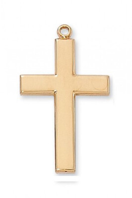 Gold Plated Large Plain Cross on a 24