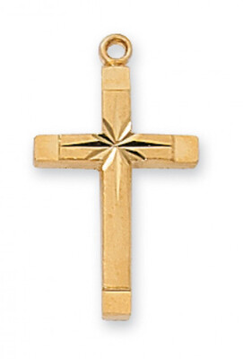 Gold Plated Starred Cross on an 18