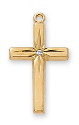Gold Plated Cross with CZ on an 18