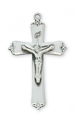 Sterling Silver Fancy Tipped Crucifix on an 18