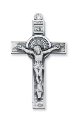 Sterling Silver Large St. Benedict Crucifix on a 24