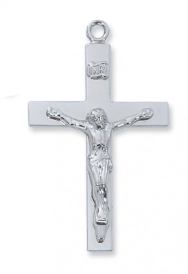 Sterling Silver Wider Plain Crucifix on a 24