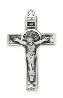 Sterling Silver St. Benedict Crucifix on a 24