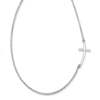 Sterling Silver Sideways Curved Cross- Offset Design, on a 18