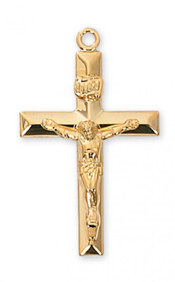 Gold Plated Beveled Crucifix on a 24