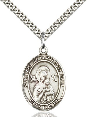 Sterling Silver Our Lady of Perpetual Help Pendant on a 24