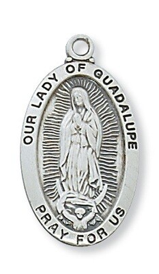 Sterling Silver Our Lady of Guadalupe Medal on a 18
