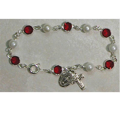 Adult Red/Pearl Rosary Bracelet