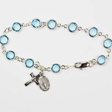 Adult Aqua Rosary Bracelet