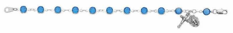 Adult Blue Austrian Crystal Rosary Bracelet