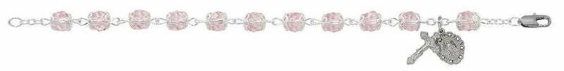 Adult Capped Pink Crystal Rosary Bracelet