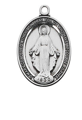 Beautiful Sterling Silver Oval Miraculous Medal on a 18