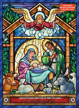 Stained Glass Nativity Chocolate Advent Calendar