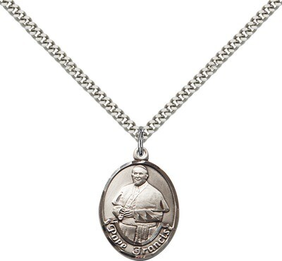 Sterling Silver Pope Francis Large Oval Pendant on a 24