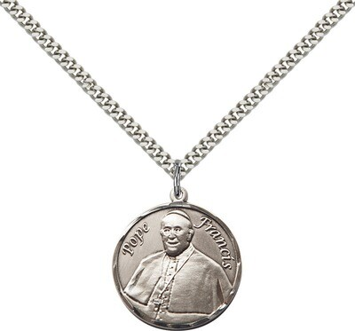Sterling Silver Pope Francis Medium Round Pendant on an 18
