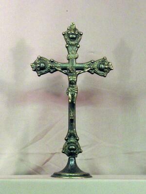 Standing Antique Brass Crucifix
