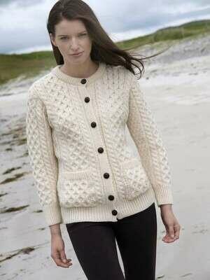 Ladies Cardigan Aran Wool Sweater- Natural