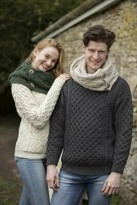 Unisex Crew Neck Aran Wool Sweater- Charcoal