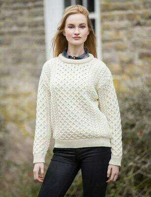 Unisex Crew Neck Aran Wool Sweater- Natural