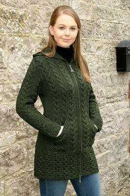 Ladies Hooded Coat with Celtic Knot Zipper- Army Green