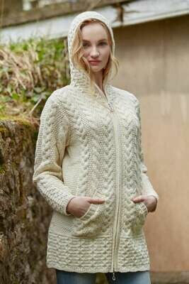 Ladies Hooded Coat with Celtic Knot Zipper- Natural