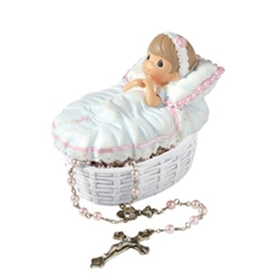 Baptized In His Name Girl Rosary Box with Pink Baby Rosary
