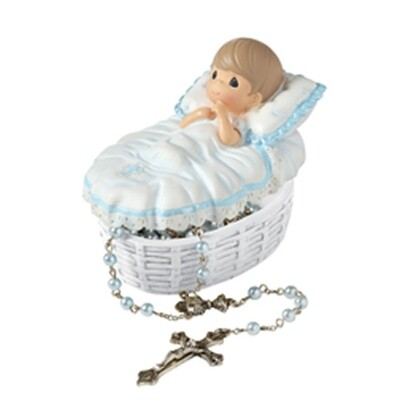 Baptized In His Name Boy Rosary Box with Blue Baby Rosary