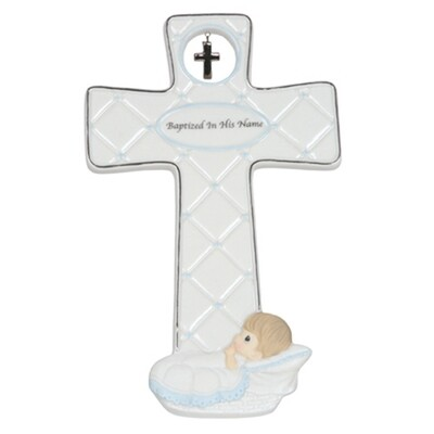 Baptized In His Name Boy Cross with Easel Stand