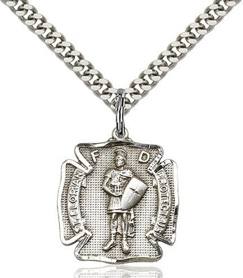 """Sterling Silver St. Florian Firefighers Badge Medal (Medium Size) on a 24"""" Light Rhodium Chain"""
