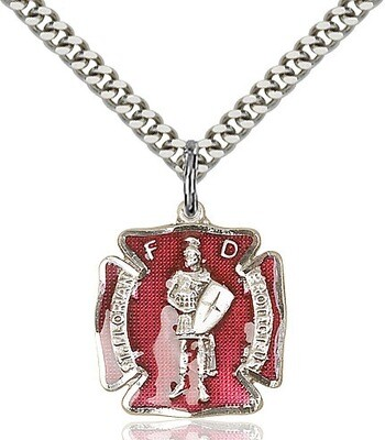 """Sterling Silver St. Florian Red Enamel Firefighters Badge (Medium Size) on a 24"""" Light Rhodium Chain"""