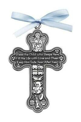 """""""Bless This Child Who Lives Here"""" Crib Cross with Blue Ribbon"""