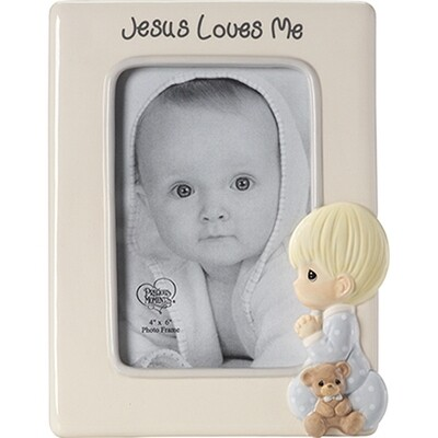 Jesus Loves Me Praying Boy Photo Frame