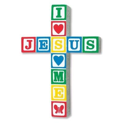 """Jesus Loves Me"" Wall Cross - Primary"