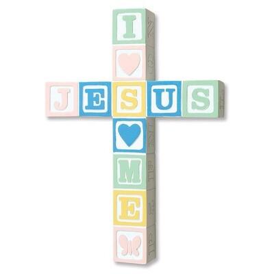 """Jesus Loves Me"" Wall Cross - Pastel"