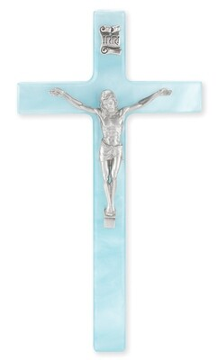 """7"""" Pearlized Blue Cross with Antiqued Silver-Plated Corpus"""