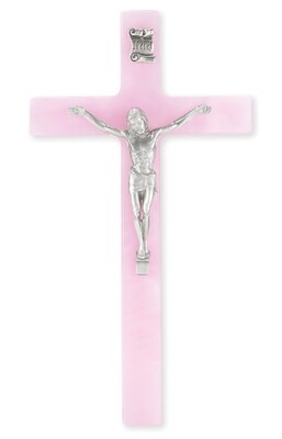 """7"""" Pearlized Pink Cross with Antiqued Silver-Plated Corpus"""