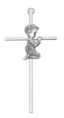 """6"""" All Silver Boy Cross"""