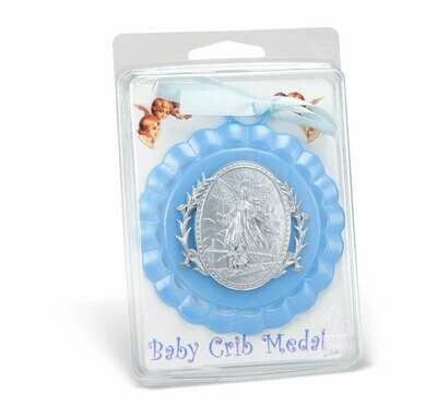 Guardian Angel Crib Medal- Blue