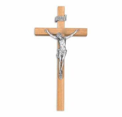 "10"" Oak Cross, 4 3/8"" Antique Finish Pewter Corpus"